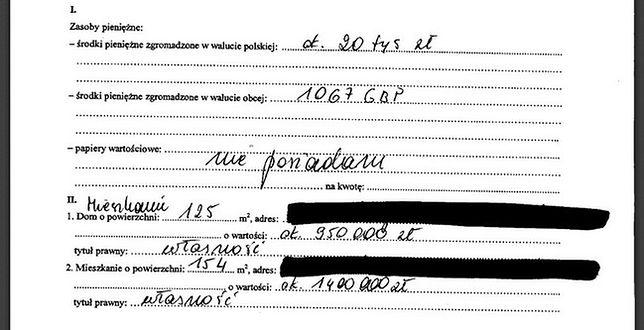 Oświadczenie majątkowe Joanny Lichockiej