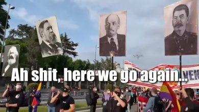 Photo of Hiszpańscy komuniści przeszli ulicami Madrytu. Na sztandarach… Lenin i Stalin!