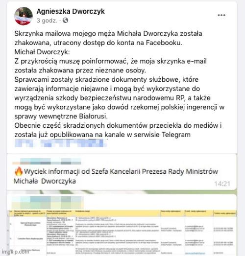 atak hakerski na Michała Dworczyka
